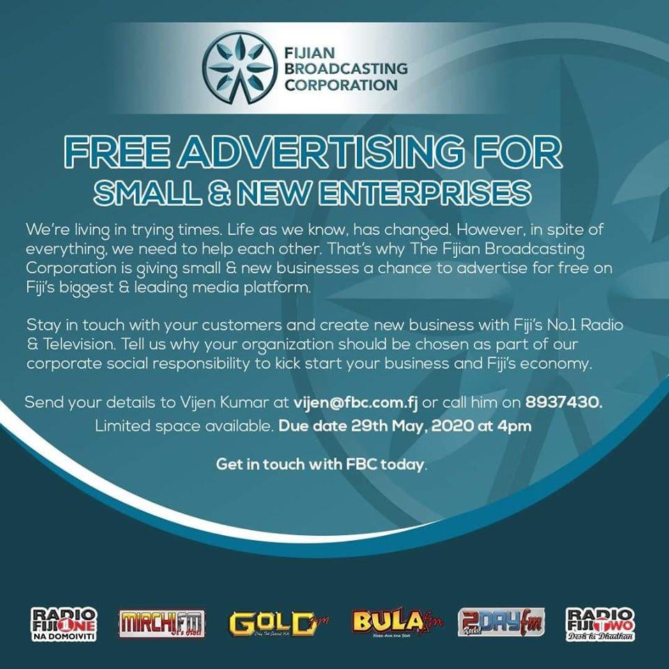 FBC offer Free Advertising For Small & New Enterprises in Fiji